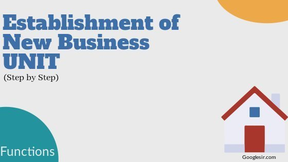 Functions for Establishing A New Business Unit